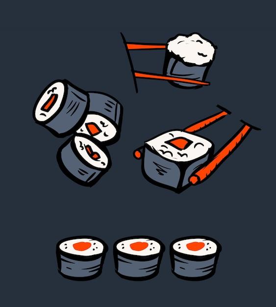 Набор иконок для ресторана суши Premium векторы