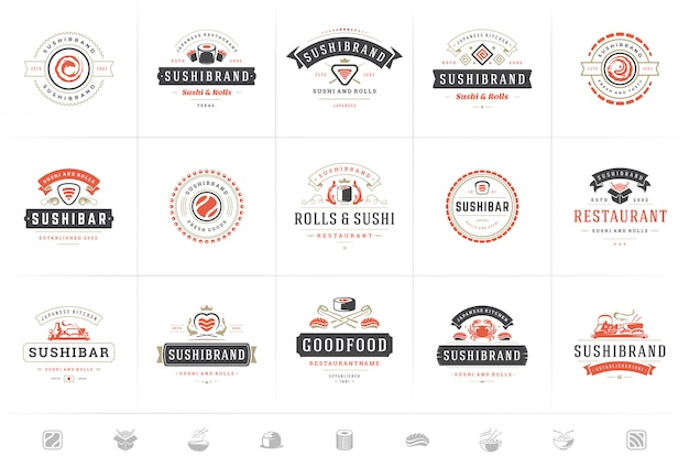 Sushi restaurant logos and badges set japanese food with sushi salmon rolls silhouettes vector Premium Vector