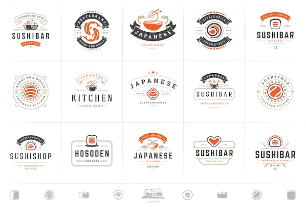 Sushi restaurant logos and badges set japanese food with sushi salmon rolls vector illustration Premium Vector