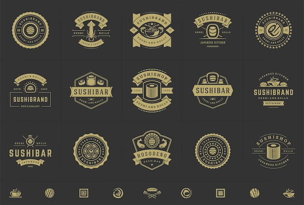Sushi restaurant logos and badges set Premium Vector