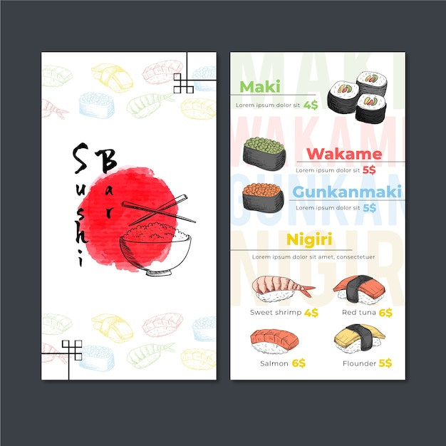 Sushi restaurant menu template Free Vector