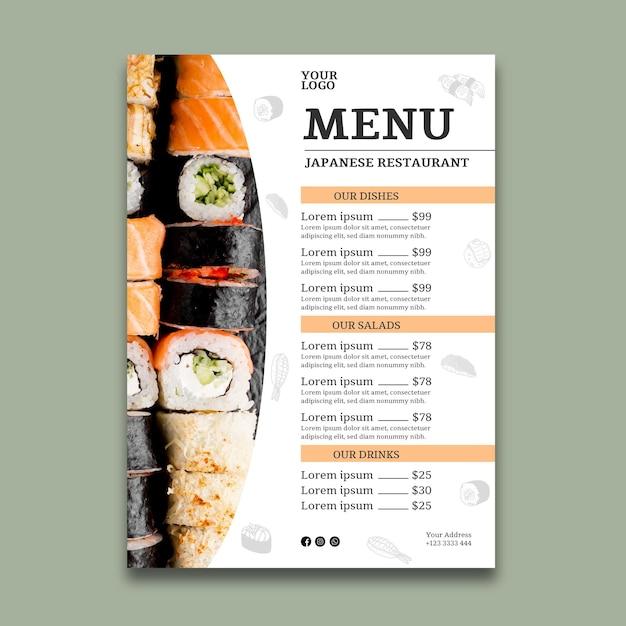 Шаблон меню суши-ресторана Premium векторы