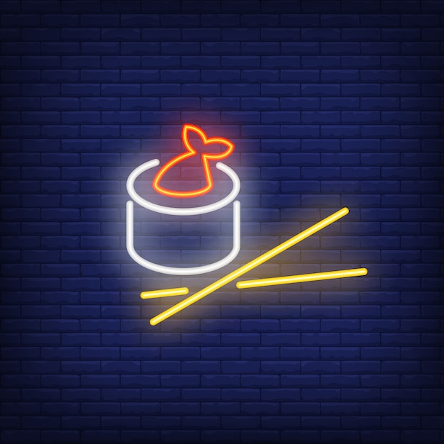 Sushi roll with fish and chopsticks neon sign Free Vector