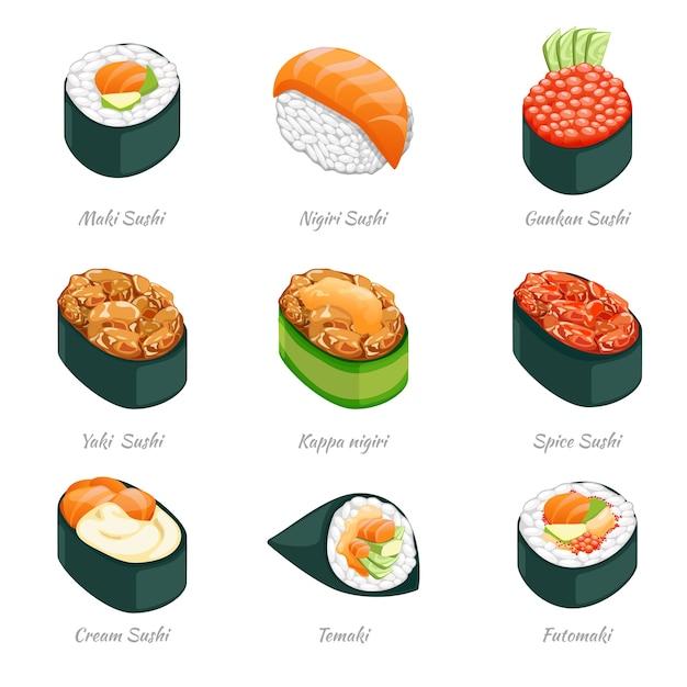巻き寿司のアイコン。フード日本料理、ご飯とシーフード、巻き寿司と太巻き Premiumベクター