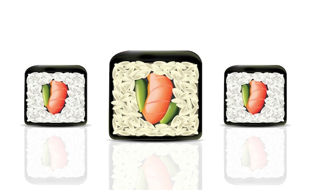 Sushi Rolls Realistic Vector Japanese Cuisine Isolated On
