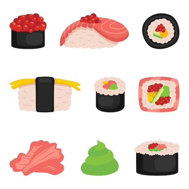 寿司、白に巻いたロール Premiumベクター