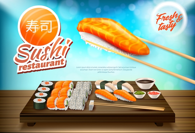 Sushi and rolls set, traditional cuisine of japan Premium Vector