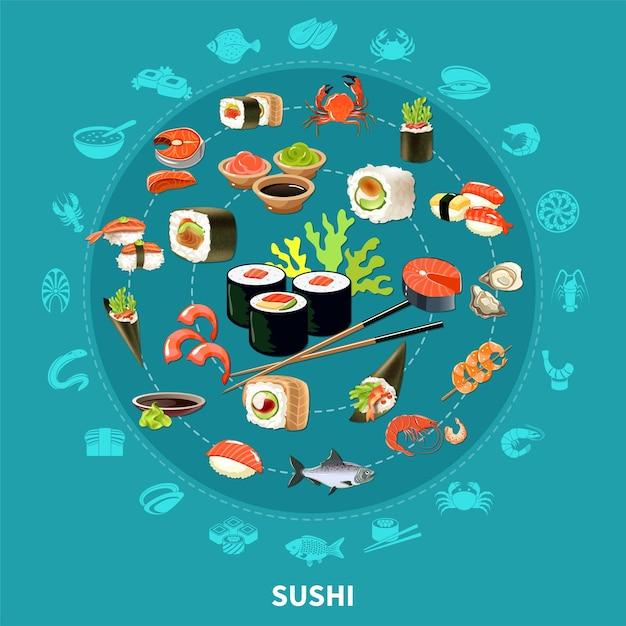 大きな円の色と孤立したイラストを組み合わせたフラットアイコンセットと寿司ラウンド構成 無料ベクター