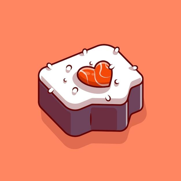 Суши лосось любовь мультфильм векторные иллюстрации значок. концепция значок японской кухни. плоский мультяшном стиле Бесплатные векторы