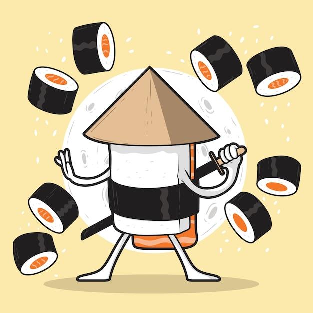 Суши самурай персонаж иллюстрации Premium векторы