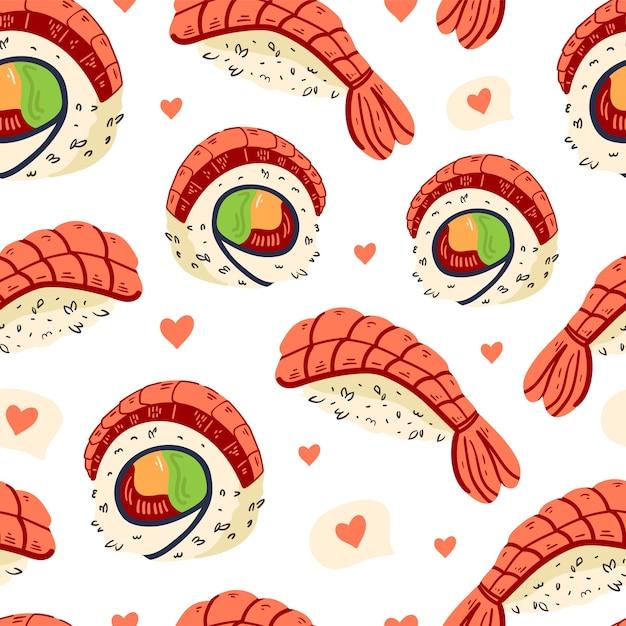 寿司のシームレスなパターン。 Premiumベクター