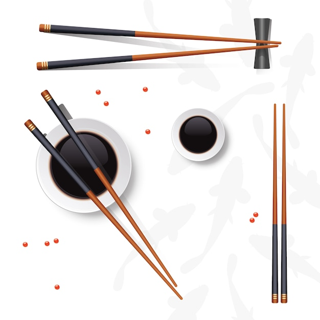 Sushi set. chopsticks and soy sauce isolated on white Premium Vector