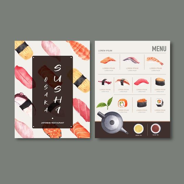 レストランの寿司セットメニュー。 無料ベクター