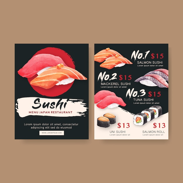Sushi set menu for restaurant. Free Vector