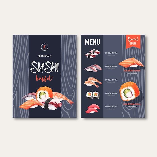 Sushi set menu for restaurant. Free Vector