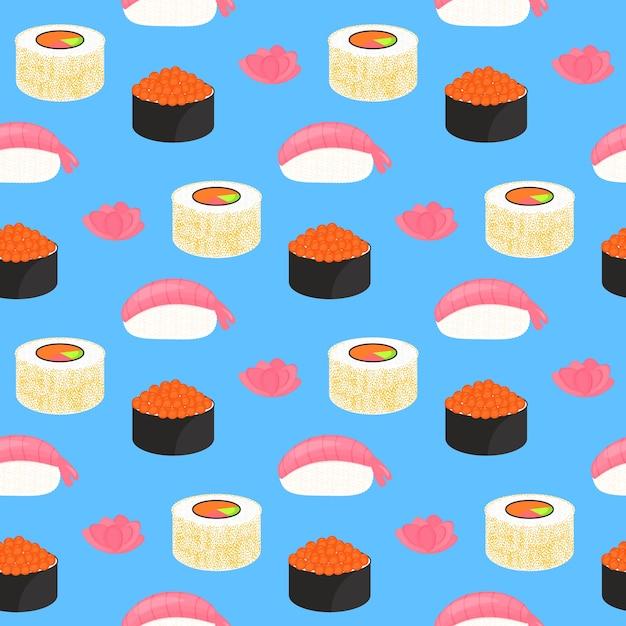 Суши-сет. роллы с икрой красной рыбы, нигири с креветками. традиционная японская еда. бесшовные модели. Premium векторы