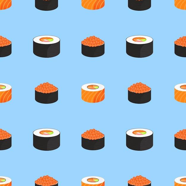 Суши-сет. роллы с икрой красной рыбы, с семгой. традиционная японская еда. бесшовные модели. Premium векторы