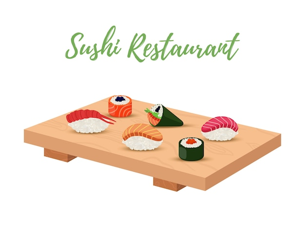 Sushi Set On Wooden Tray For Japanese Restaurant Premium Vector