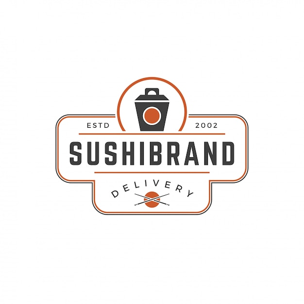 Sushi shop logo template japanese noodle box silhouette with retro typography vector illustration Premium Vector