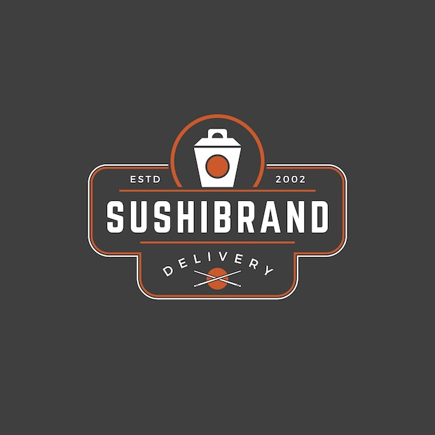 Sushi shop logo template japanese noodle box silhouette with retro typography Premium Vector