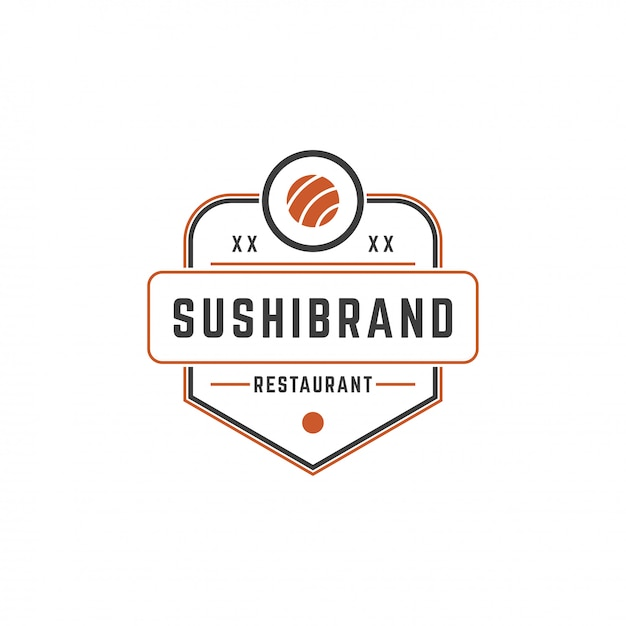 Sushi shop logo template salmon roll silhouette with retro typography vector illustration Premium Vector
