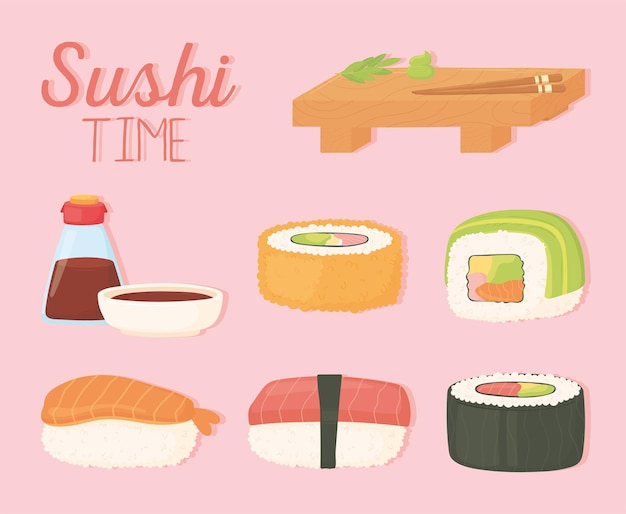 Соевый соус на деревянной тарелке суши в бутылке и роллах дизайн иллюстрации Premium векторы
