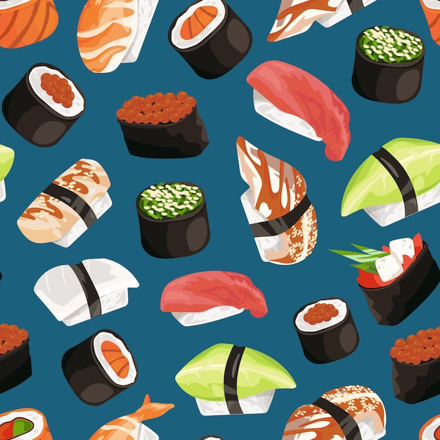 Sushi types pattern Premium Vector