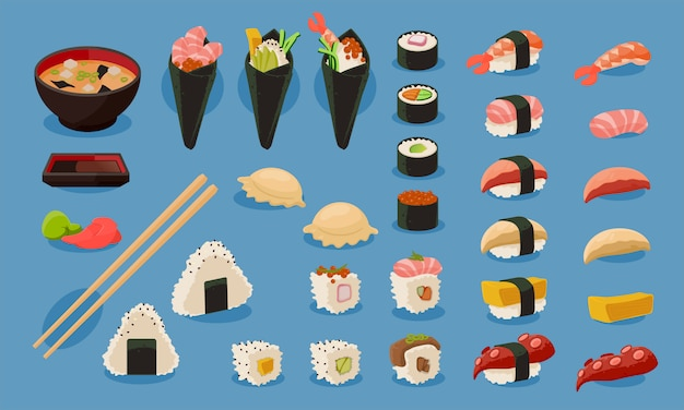 Sushi vector set Premium Vector