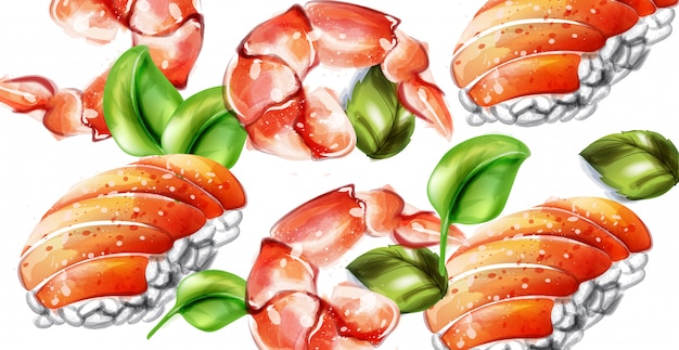 Sushi vector watercolor Premium Vector