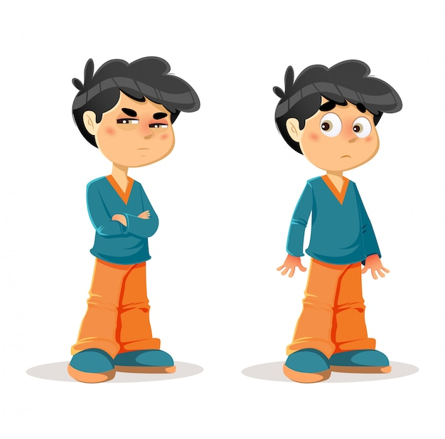 Suspicious surprised young boy expressions Premium Vector