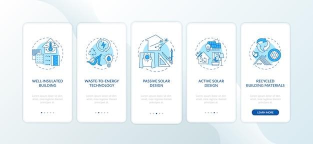 コンセプトのある持続可能なアーキテクチャの青いオンボーディングモバイルアプリページ画面。 Premiumベクター