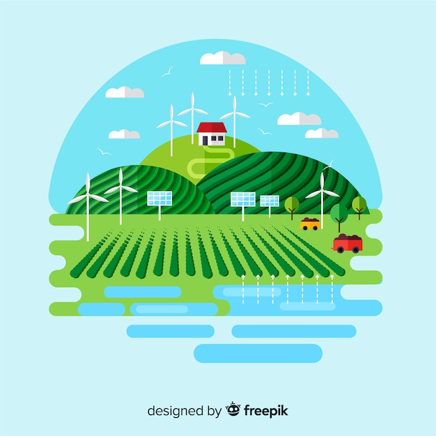 Sustainable development and ecosystem concept Free Vector