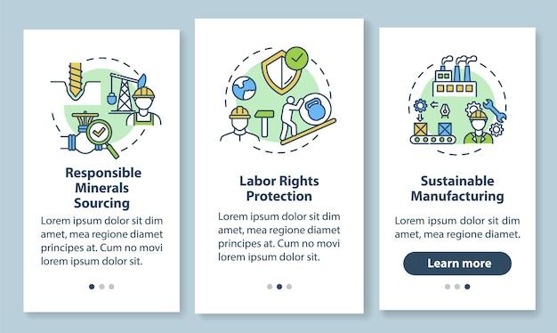 コンセプトのある持続可能な製造オンボーディングモバイルアプリのページ画面。責任ある企業のウォークスルーステップのグラフィックの手順。 rgbカラーイラストのuiテンプレート Premiumベクター