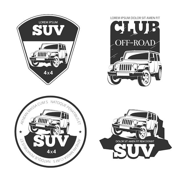 Emblemi, etichette e loghi di vettore di auto suv. spedizione estrema fuoristrada, illustrazione del veicolo 4x4 Vettore gratuito