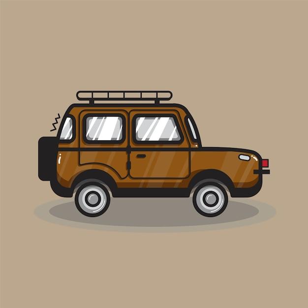 手描きのsuv車のイラスト 無料ベクター