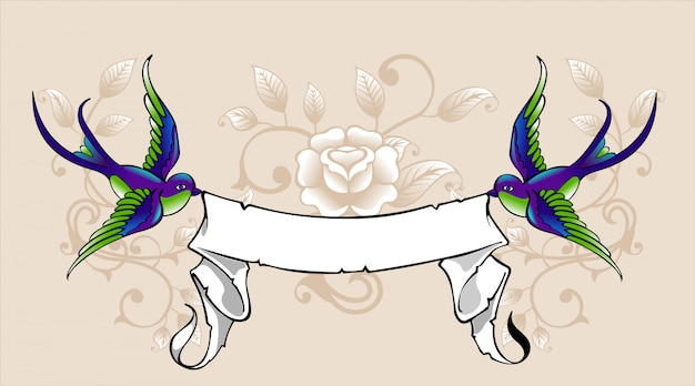 Swallow with ribbon Premium Vector