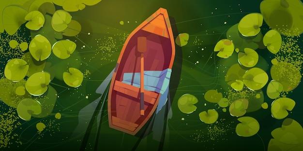 Palude con foglie di barca e ninfee Vettore gratuito