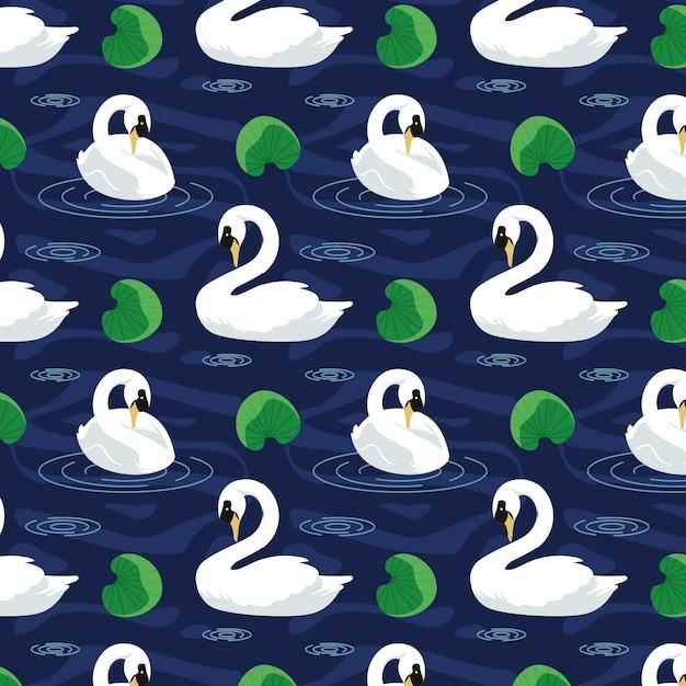 Swan pattern elegant design Free Vector