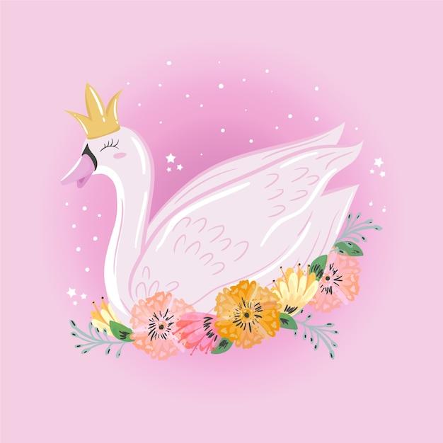 Cartone animato principessa cigno Vettore gratuito
