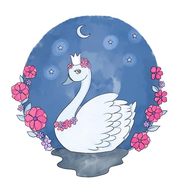 Illustrazione disegnata a mano principessa cigno Vettore gratuito