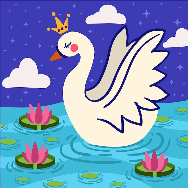 Swan princess illustrated concept Free Vector