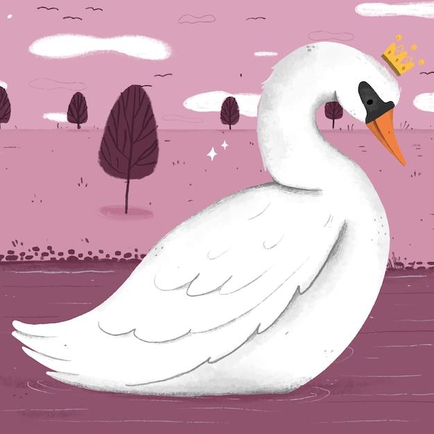Принцесса-лебедь иллюстрировала концепцию Бесплатные векторы