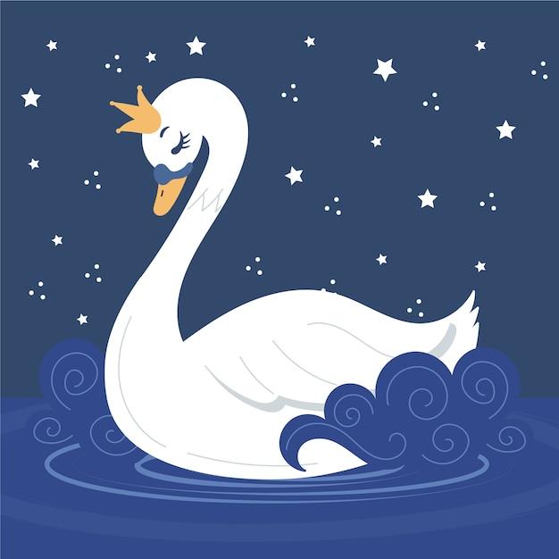 Концепция иллюстрации принцессы лебедя Premium векторы