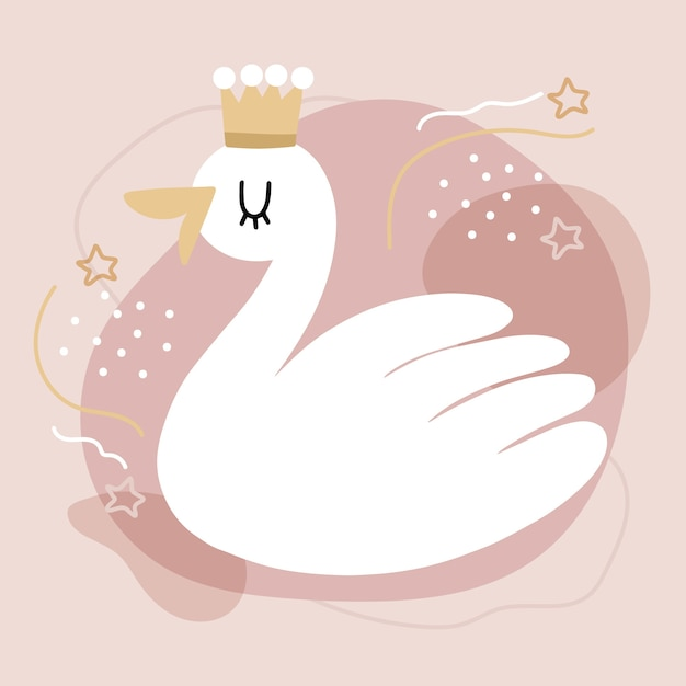 Swan princess illustration concept Premium Vector
