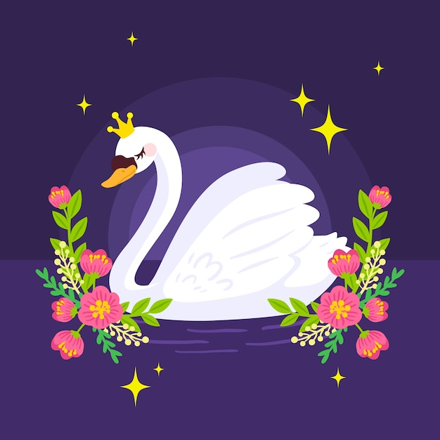 Swan princess in the night with flowers Free Vector