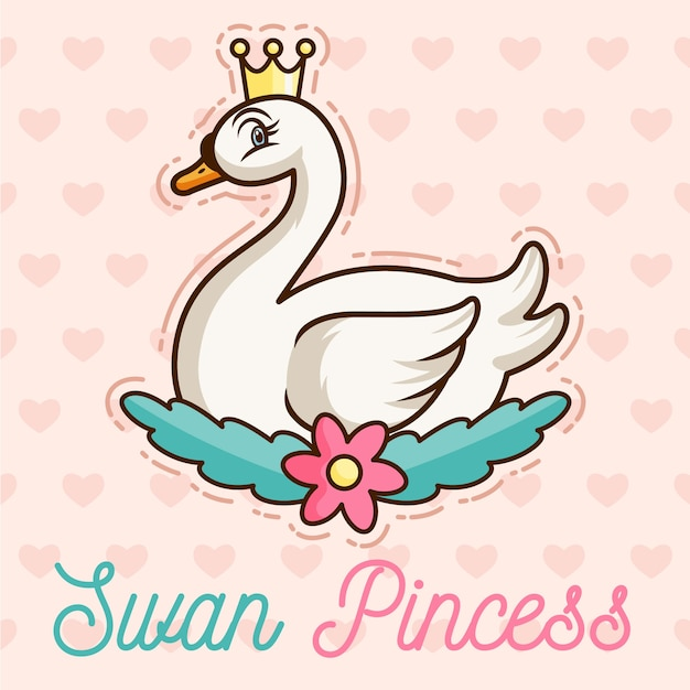 Swan princess with crown Free Vector