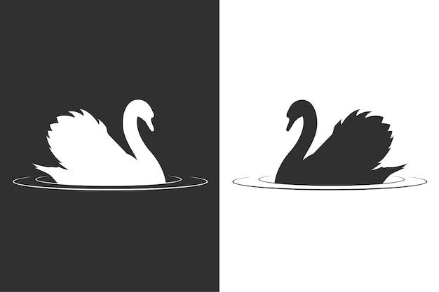 Концепция силуэт лебедя Бесплатные векторы