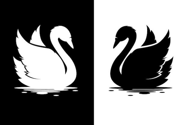 Лебедь силуэт дизайн Бесплатные векторы