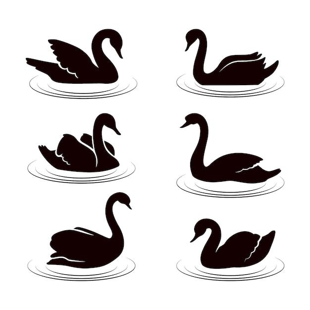 Силуэт лебедя на озере Premium векторы
