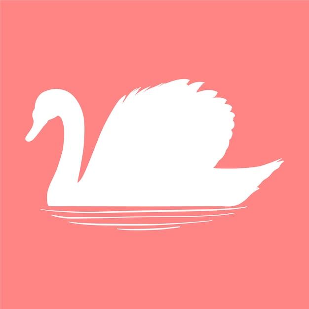 Силуэт лебедя на воде Бесплатные векторы